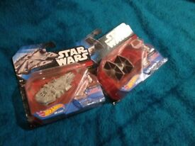 Hot Wheels Star Wars Millennium Falcon and Tie Fighter Die Cast Vehicles (Boxed)