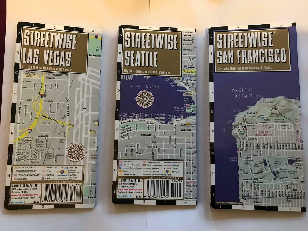 Streetwise fold out Maps of Seattle, Las Vegas and San Francisco | in ...