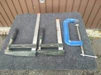 Three woodworking clamps/cramps