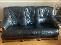 3 piece leather black sofa