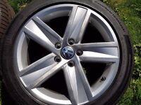 """Volkswagen 17"""" Alloy Wheels with Tyres."""