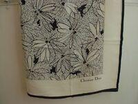 Christian Dior 100% silk scarf (monochrome, flower), Brand-New!