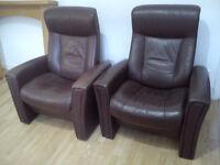 5 Piece Leather Sofa Set - Excellent Condition - Brown - 3 Seat Sofa, 2 Single Seats
