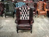 Fantastic vintage oxblood leather chesterfield Queen Anne wingback chair UK delivery