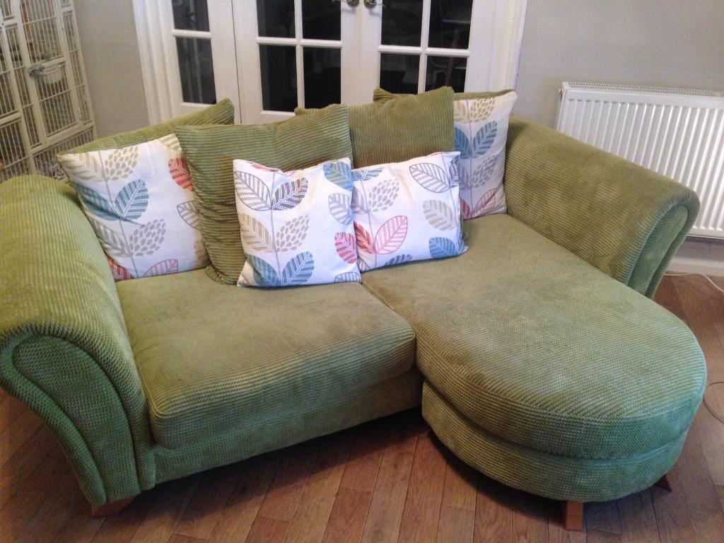 Sofa, chair footstool blinds and curtains