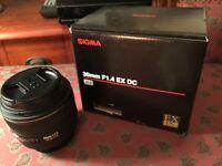 Sigma 30mm F1.4 EX DC Lens, V Good Condition. Boxed, Lens Case, Lens Caps, Front & Rear, Lens Hood