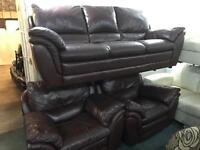 Brown leather 3 seater and 2 matching recliner chairs