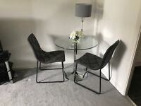 Glass dining table & 4 leather chairs RRP£675 (PRISTINE NEARLY NEW)