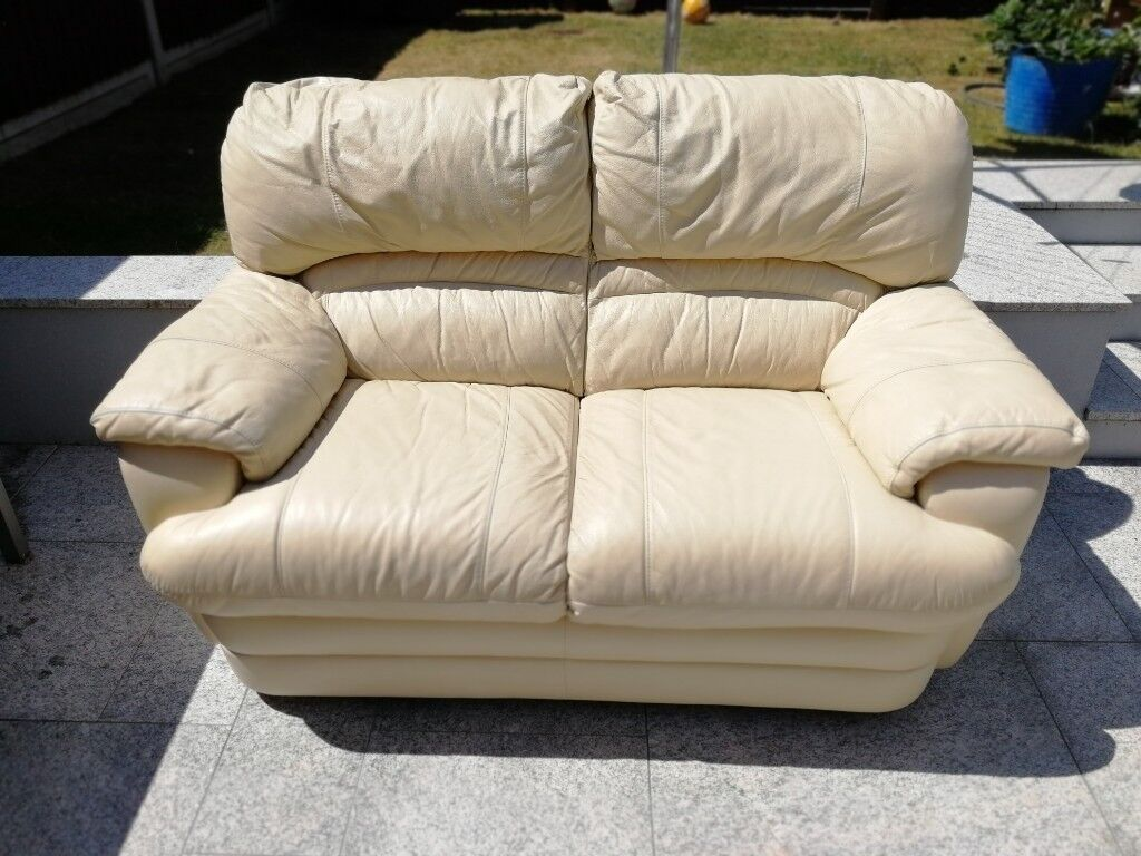 Sofa 2 Seater Cream Leather Buy Or Sell Find It Used