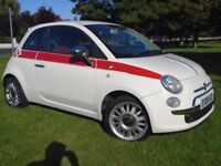 FIAT 500 SPORT...WHITE WITH RED LEATHER INTERIOR 2008 Great condition !