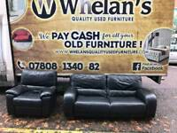 3 and 1 seater sofa in black leather from Harvey's ( armchair is electric recliner)