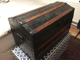 Old wooden treasure chest toy box