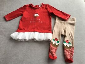 Next Baby Girl Christmas Dress & Tights 0-3 months (As New)