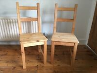 Two Ikea Pine Dining Chairs