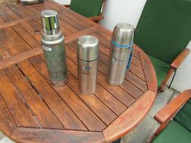 3 Stainlees steel flasks