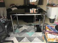 Black glass & chrome computer desk