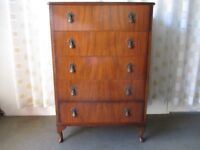 VINTAGE MAHOGANY VENEER FIVE DRAWER CHEST OF DRAWERS FREE DELIVERY