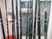 11x sea fishing rods beach-pier-bass going as a joblot