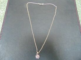 Diamond and Ruby Star cluster pendant and chain