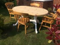 Solid Pine Dining Table and Four Chairs.