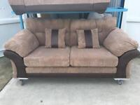 Dfs Album Nutmeg Cord & Brown Faux Leather 3 Seater Sofa (New Ex Display)