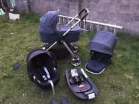 Mamas & Papas Armadillo Flip XT2 Travel system with Cybex Platinum group 1 car seat with iOS fix
