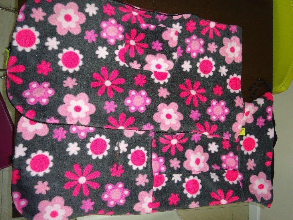 Pink and Grey Fleece Buggy Snuggle Footmuff/Cosytoes