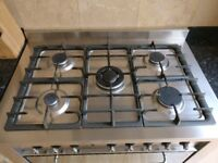 Indesit Dual Fuel Range Cooker, 90cm, stainless steel, used 9 years, fully working, good condition