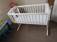Mothercare Swinging Crib with crib mattress- White RRP £80