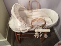 Beautiful Moses basket, stand and bedding