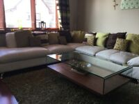 Leather Corner Sofa with Swivel Chair and Stool