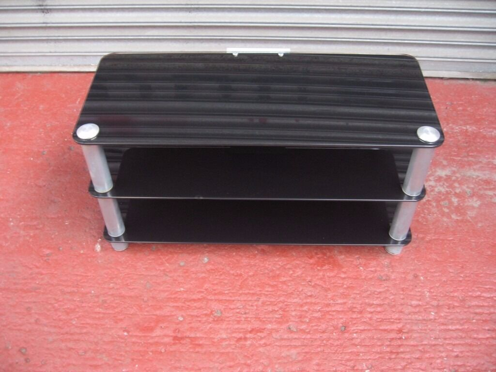 black glass tv stand, cabinet with two shelves