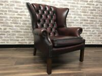 Compact Chesterfield Queen Anne Wing Chair