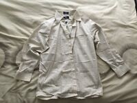 Brand New Mens Beige Long Sleeve Checked Formal Shirt 15.5 Regular