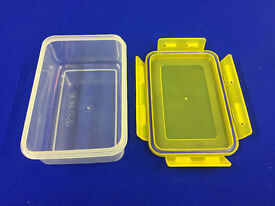 Pack of 4 Storage boxes, clip and seal lid, rated microwave, freezer and food safe 16 x 10 x 6 cm