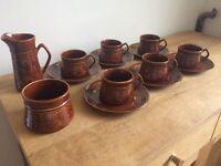 Vintage Saxony Ellgreave Coffee / tea set cups, saucers, milk jug and sugar bowl
