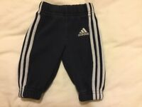 Adidas tracksuit bottoms / joggers. Age 0-3 months.