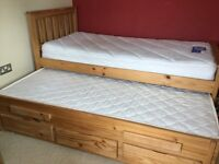 Trundle sleepover child or guest bed - mattresses included
