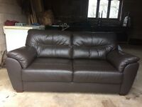 Brown leather sofa - like new