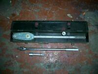 """TORQUE WRENCH 3/4"""" WITH 1/2"""" ADAPTOR 300LBFT MADE IN ENGLAND + BREAKER BAR AND EXTENSION"""