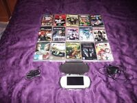 """WHITE SONY PSP + 15 GAMES + HARD CASE + EXTRAS """"MINT CONDITION"""""""