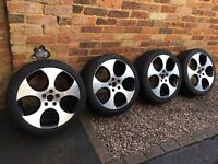 4 x 18 inch Golf GTI Mk6 Diamond Cut Monza Alloy wheels and tyres