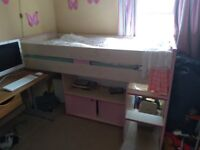 Girls Pink Wooden bunk bed with table, top bunk with storage underneath for toys and books etc.