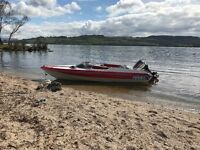 Speed boat, speedboat with trailer and 85 Yamaha engine.