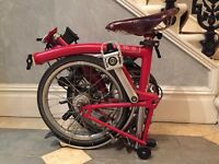Red Brompton Folding Bicycle S6L
