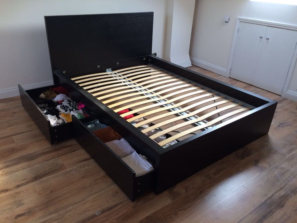 Ikea Malm Double Bed Frame Comes With Slats 2 Roll Out Storage Bo