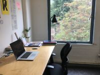 Large desk in bright lovely studio next to Broadway Market £230 (Shared office / co-working)