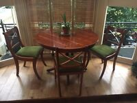 Regency table with four chairs