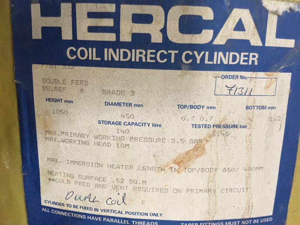 hercal coil indirect copper cylinder 900 × 450 +pump + actuactor ...