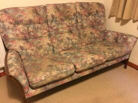Wooden frame 3 seater sofa with two matching chairs